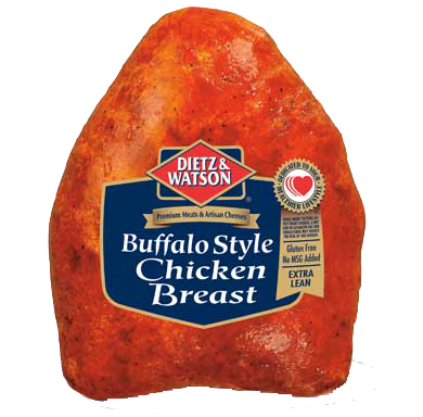 Fresh chicken with natural seasoning and buffalo wing sauce