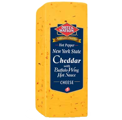 A Genuine New York Aged Cheddar with the addition of habanero, jalapeno and cayenne pepper and the addition of Original Buffalo Wing Sauce